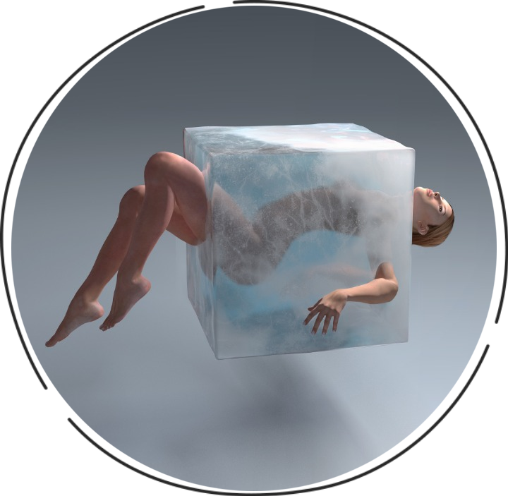 Woman in ice coub